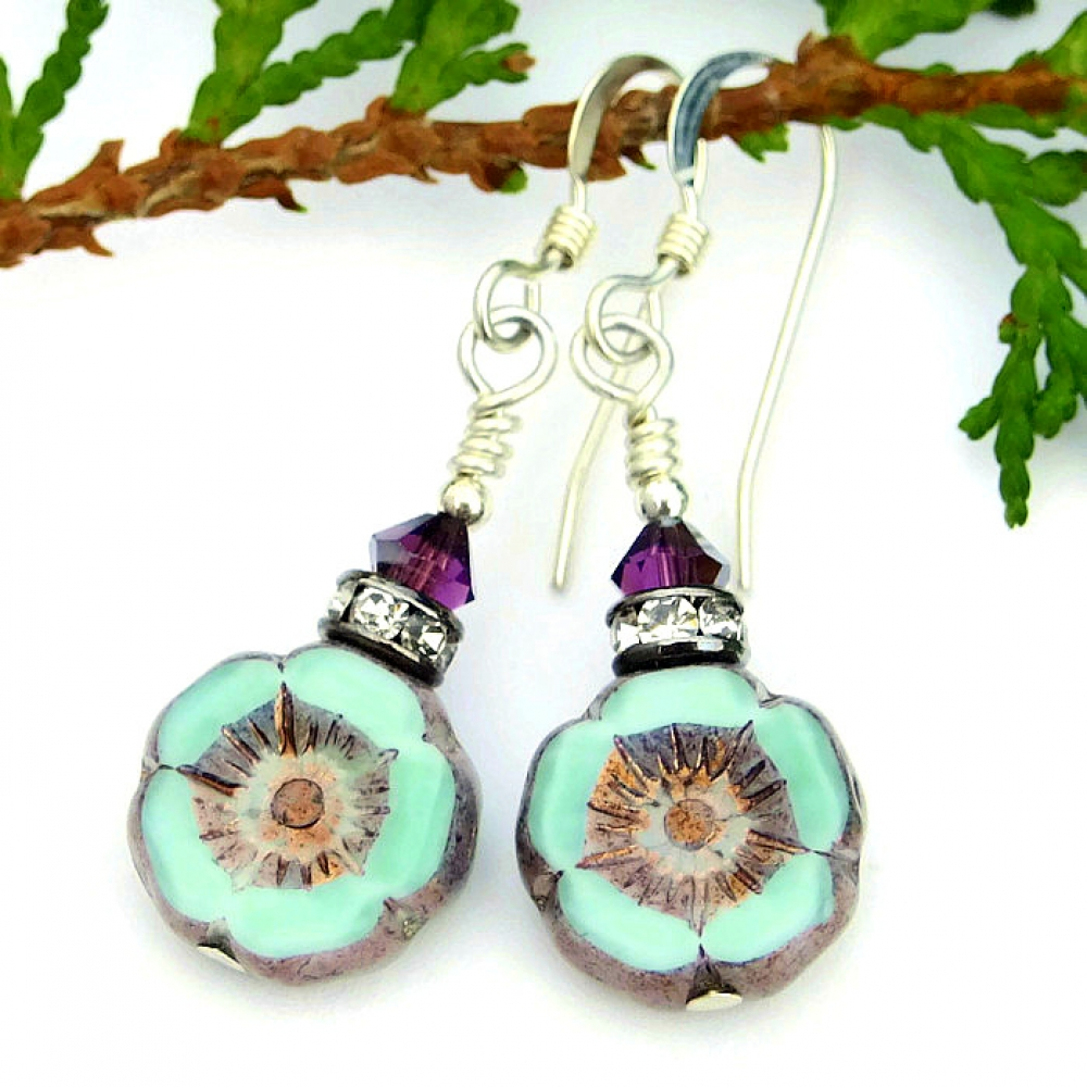 flower earrings green amethyst handmade jewelry for women