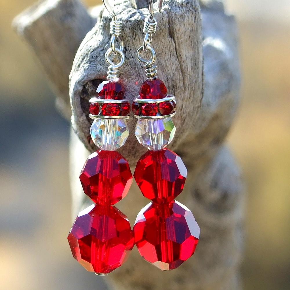 Swarovski Crystal Santa Christmas Earrings Red Holiday