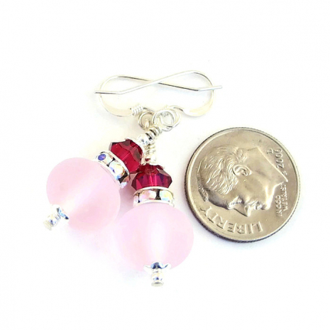 pink valentines or mothers day earrings for women gift idea