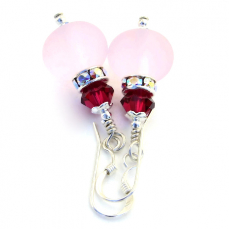 Frosted pink lampwork earrings.