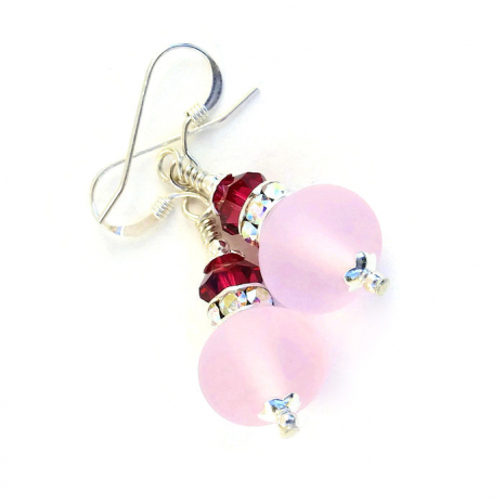 Pink lampwork and ruby crystal earrings.