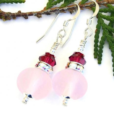 Pink earrings.