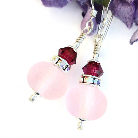pink valentines day earrings gift