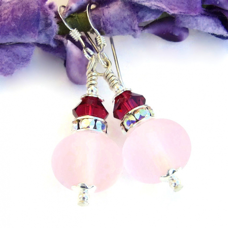 Pink and ruby earrings for women.