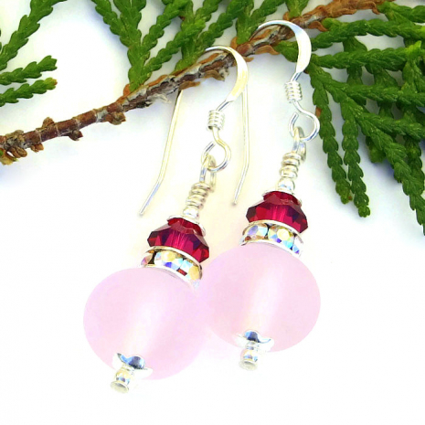 feminine frosted pink lampwork glass earrings for her
