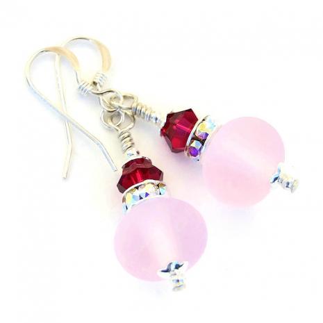 Pink lampwork earrings.