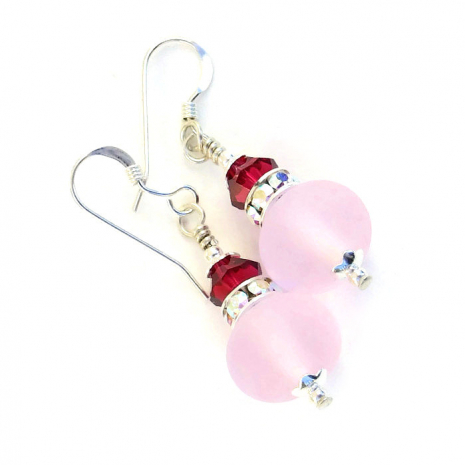 pink mothers day earrings gift