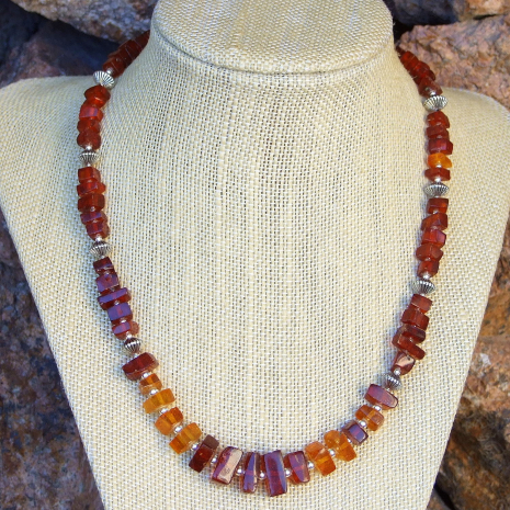 Cognac and honey amber necklace.