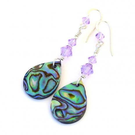 abalone teardrop handmade earrings gift for her