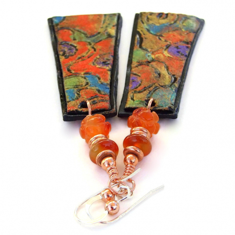 abstract art inspired polymer clay jewelry gift for her