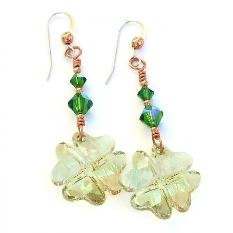 four leaf clover earrings st patricks day