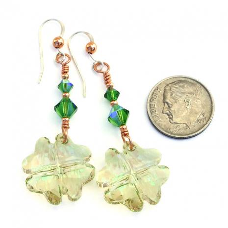 st patricks day four leaf clover earrings
