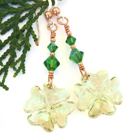 st patricks day lucky four leaf clover earrings