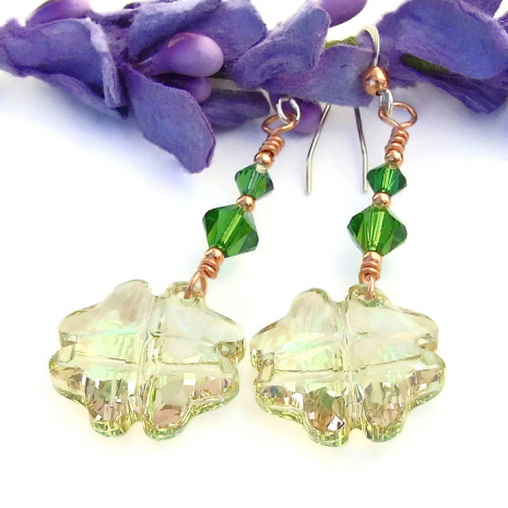 swarovski crystal st patricks day earrings