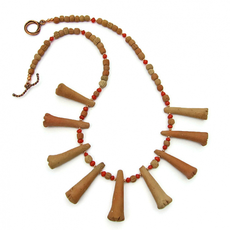 African terracotta clay necklace with earthy trumpet beads