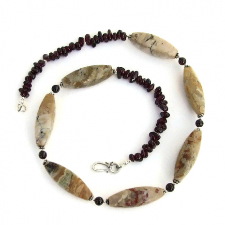 african opal and red garnet jewelry