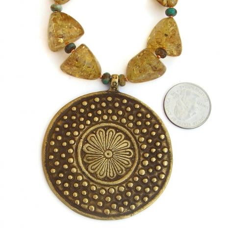 african vintage brass flower jewelry with amber and turquoise