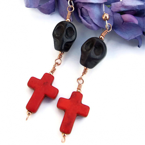day of the dead dia de los muertos skulls and crosses earrings