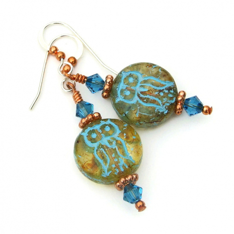 amber and turquoise owl jewelry