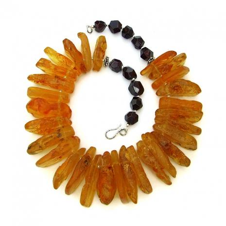 Golden amber and red garnet handmade necklace.