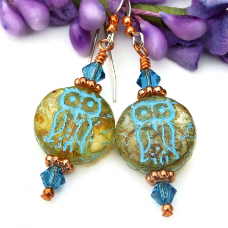 amber glass owl jewelry with turquoise picasso finish gift for her