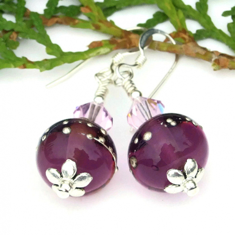 one of a kind purple and silver lampwork earrings