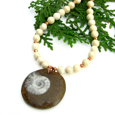 ammonite and riverstone jewelry gift for women