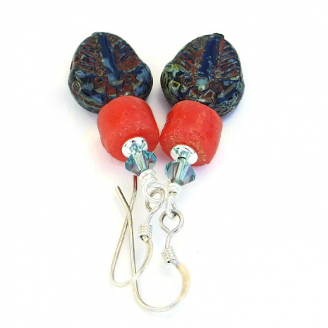 One of a kind handmade trilobite earrings for women.
