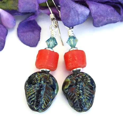 Fossil style trilobite jewelry for women.