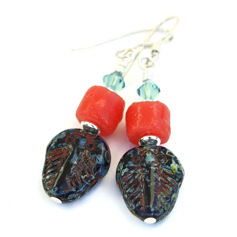 Handmade trilobite earrings.