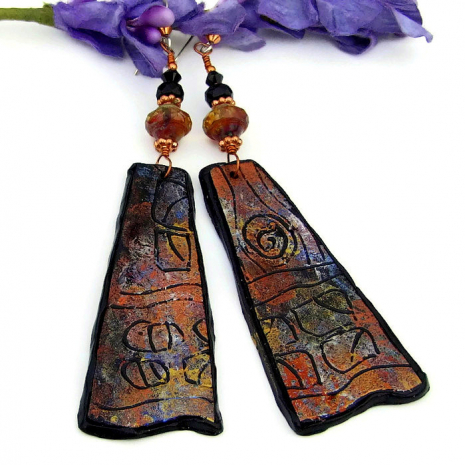ancient looking petroglyph earrings gift for her