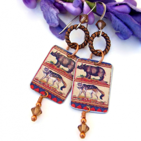 animal  earrings with copper and swarovski crystals