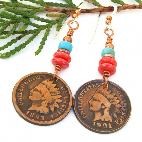 antique coin earrings indian head penny