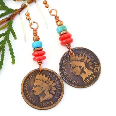 antique coin jewelry indian head penny
