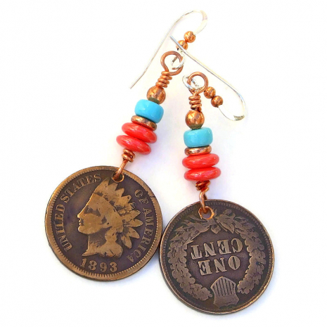 antique indian head penny earrings gift for her
