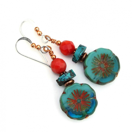 mothers day flower earrings gift