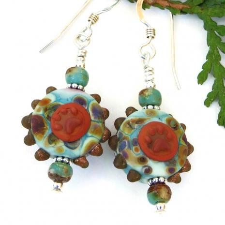 aqua brown orange dog lampwork jewelry