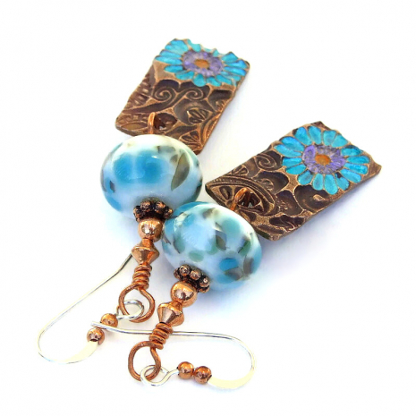 aqua copper flowers and lampwork jewelry gift idea
