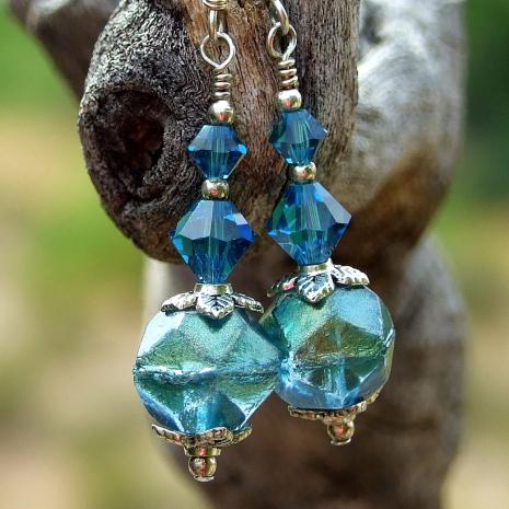 aqua english cut czech glass jewelry gift for women