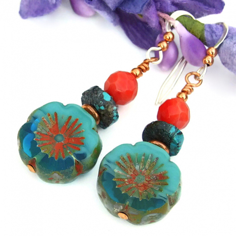 aqua and red pansy flower earrings handmade gift