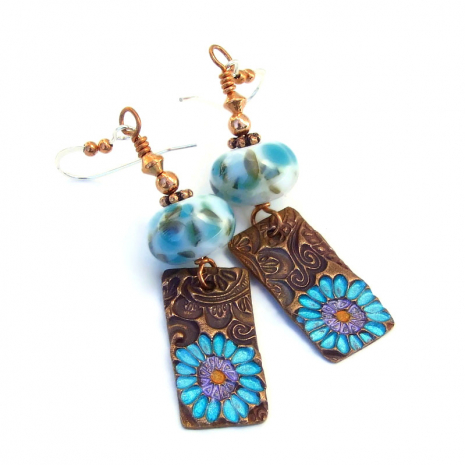 aqua flowers on copper lampwork earrings gift for her