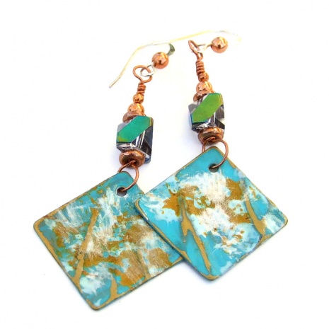 aqua gold white painted brass earrings gift for her