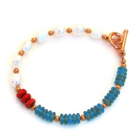 aqua red white pearls bracelet gift for her