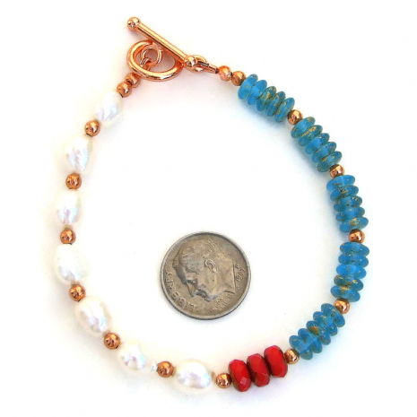 aqua red white pearls jewelry gift for her