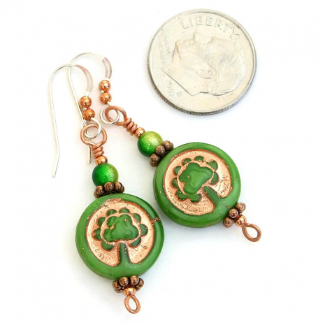 Czech glass Tree of life earrings with Japanese miracle beads.