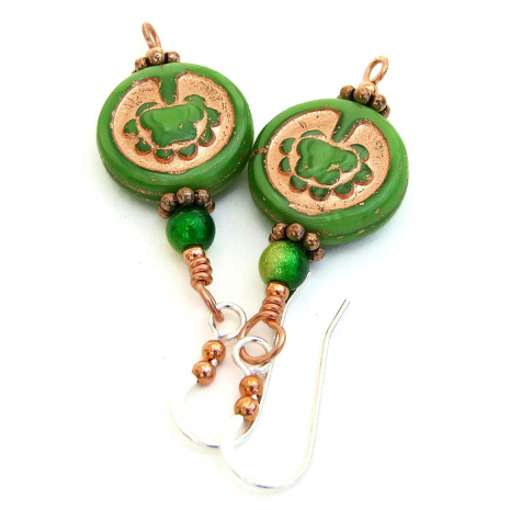 Artisan handmade Tree of Life and miracle bead earrings.