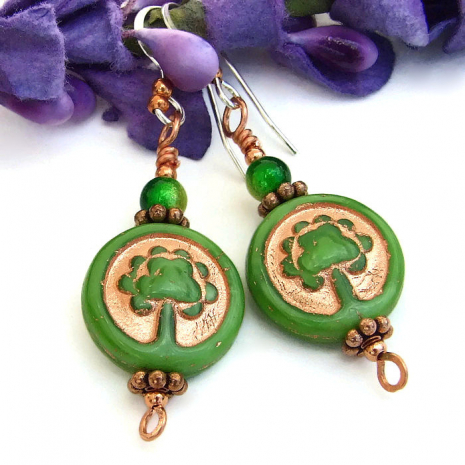 Tree of Life artisan handmade dangle earrings for her.