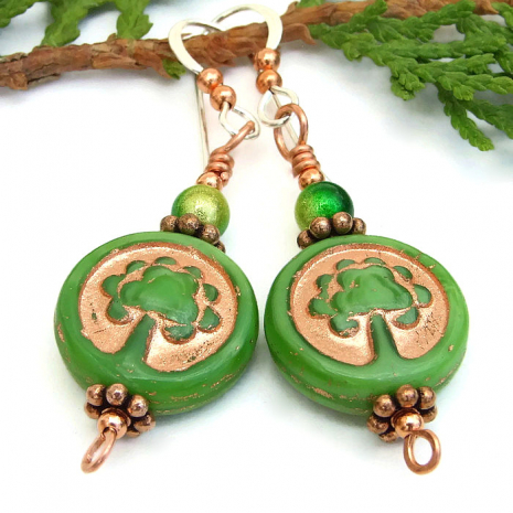 Green and copper Tree of Life earrings.