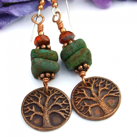 Tree of Life handmade fashion earrings.