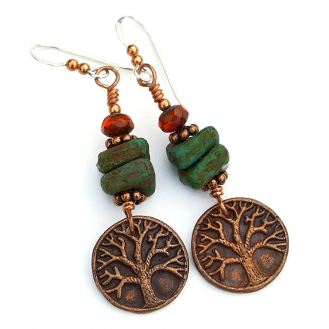Perfect Tree of Life Yggdrasil earrings for a jewelry gift.